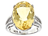 Pre-Owned Yellow Citrine Solitaire Sterling Silver Ring 12.00ct