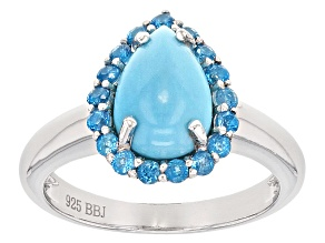 Pre-Owned Blue Sleeping Beauty Turquoise Sterling Silver Ring .43ctw