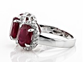 Pre-Owned Mahaleo Ruby Sterling Silver Ring 7.60ctw