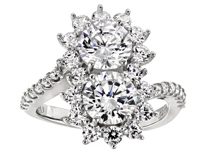 Pre-Owned White Cubic Zirconia Rhodium Over Silver Ring 6.40ctw