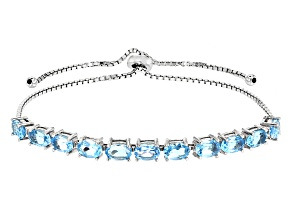 Pre-Owned Swiss Blue Topaz Sterling Silver Bracelet 5.50ctw
