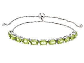 Pre-Owned Green Peridot Sterling Silver Bracelet 4.40ctw
