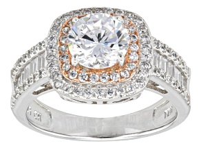 Pre-Owned Cubic Zirconia Rhodium Over Sterling Silver And 18k Rose Gold Over Silver Ring 3.81ctw