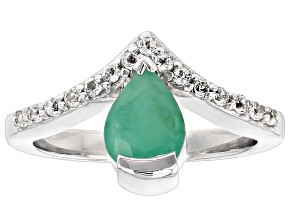 Pre-Owned Green Brazilian Emerald Sterling Silver Ring 1.32ctw