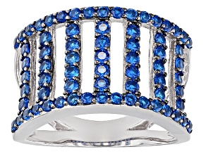 Pre-Owned Blue Lab Spinel Sterling Silver Band Ring 1.50ctw