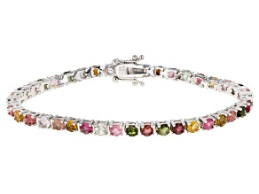 Pre-Owned Multi-Tourmaline Sterling Silver Bracelet 6.50ctw