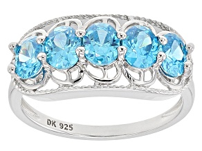 Pre-Owned Blue & White Cubic Zirconia Rhodium Over Sterling Silver Ring 1.77ctw