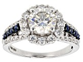 Pre-Owned Moissanite And Blue Sapphire Platineve Ring 3.02ctw DEW