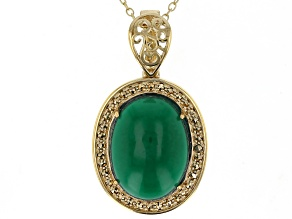 Pre-Owned Green onyx 18k yellow gold over sterling silver pendant with chain.
