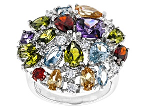 Pre-Owned Purple/Blue,Red/White/Brown/Green Cubic Zirconia Rhodium Over Silver Ring 8.30ctw