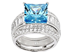 Pre-Owned Blue And White Cubic Zirconia Rhodium Over Sterling Silver Ring With Guard 14.24ctw