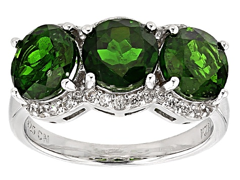 Pre-Owned Green Russian Chrome Diopside Sterling Silver Ring 4.69ctw