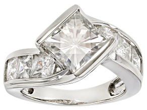 Pre-Owned Moissanite Fire® 5.32ctw DEW Square Brilliant And Princess Cut Platineve™ Ring