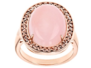 Pre-Owned Pink opal 18k over sterling silver rose gold ring