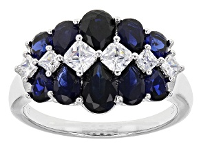 Pre-Owned Synthetic Sapphire And White Cubic Zirconia Silver Ring 3.30ctw