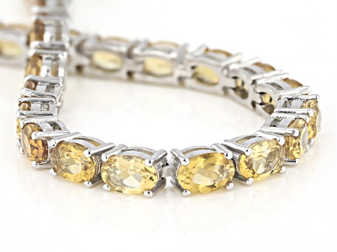 Pre-Owned Yellow Brazilian Citrine Tennis Sterling Silver Bracelet 12.35ctw