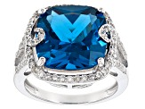 Pre-Owned Blue Lab Created Spinel Sterling Silver Ring 9.26ctw