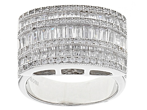 Pre-Owned White Cubic Zirconia Rhodium Over Sterling Silver Ring 3.54ctw