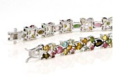 Pre-Owned Multi-Tourmaline Sterling Silver Bracelet 13.78ctw