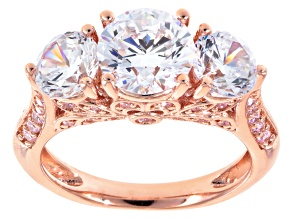 Pre-Owned White And Pink Cubic Zirconia 18k Rose Gold Over Silver Ring 6.76ctw (4.20cwt DEW)