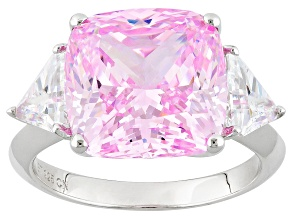 Pre-Owned Pink And White Cubic Zirconia Rhodium Over Sterling Silver Ring 18.25ctw