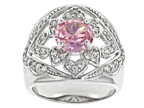 Pre-Owned Pink And White Cubic Zirconia Rhodium Over Sterling Silver Ring 4.26ctw