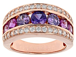 Pre-Owned Pink Synthetic Corundum And Purple And White Cubic Zirconia 18k Rose Gold Over Silver Ring