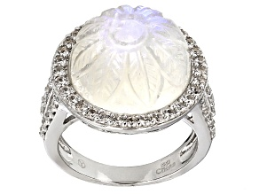 Pre-Owned Rainbow Moonstone Sterling Silver Ring 1.27ctw