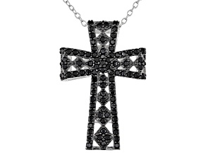 Pre-Owned Black Spinel Sterling Silver Cross Pendant With Chain .85ctw