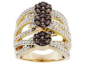 Pre-Owned Brown And White Cubic Zirconia 18k Yellow Gold Over Silver Ring 3.65ctw (1.48ctw DEW)