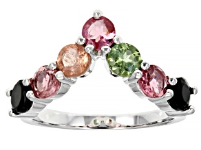 Pre-Owned Multi-Tourmaline Sterling Silver Ring 1.61ctw