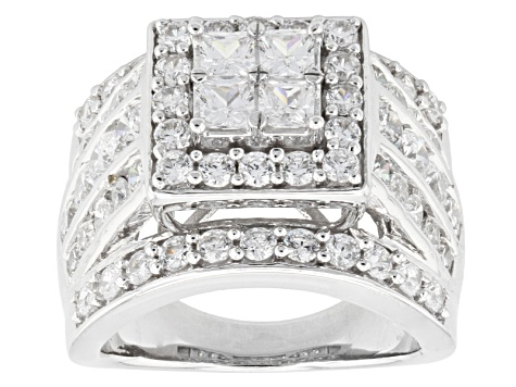 Pre-Owned Cubic Zirconia Silver Ring 6.60ctw (3.34ctw DEW)