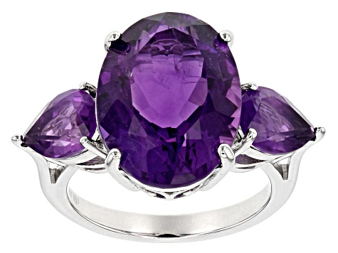 Pre-Owned Purple amethyst rhodium over sterling silver ring 8.89ctw
