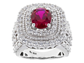 Pre-Owned Red And White Cubic Zirconia Silver Ring 7.85ctw