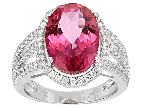 Pre-Owned Pink Daburite Sterling Silver Ring 8.53ctw