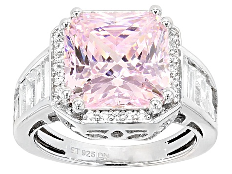 Pre-Owned Pink And White Cubic Zirconia Silver Ring 10.90ctw (7.80ctw DEW)