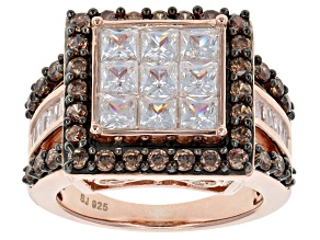 Pre-Owned White And Brown Cubic Zirconia 18k Rose Gold Over Silver Ring 5.45ctw (3.33ctw DEW)