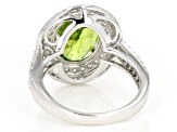 Pre-Owned Green Peridot Sterling Silver Ring 4.10ctw