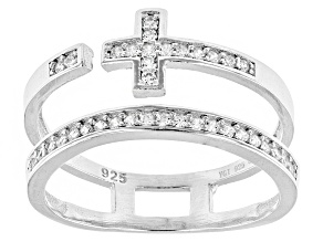 Pre-Owned White Cubic Zirconia Rhodium Over Silver Cross Ring .36ctw