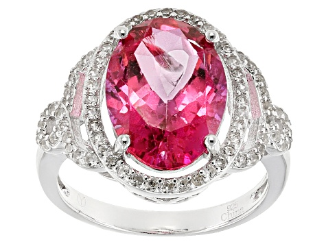 Pre-Owned Pink Danburite Sterling Silver Ring 8.89ctw