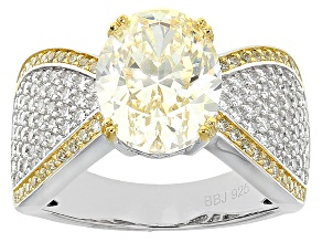Pre-Owned Yellow And White Cubic Zirconia Silver Ring 6.85ctw (4.49ctw DEW)