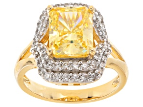 Pre-Owned Yellow And White Cubic Zirconia 18k Yg Over Silver Ring 7.38ctw