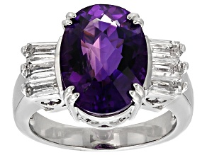 Pre-Owned Purple Amethyst Sterling Silver Ring 5.74ctw