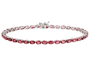 Pre-Owned Pink Tourmaline Sterling Silver Tennis Bracelet 7.70ctw