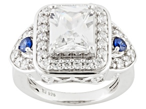 Pre-Owned White And Blue Cubic Zirconia Silver Ring 7.57ctw