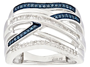 Pre-Owned Blue And White Diamond Rhodium Over Sterling Silver Ring .33ctw