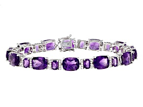 Pre-Owned Purple Amethyst Sterling Silver Bracelet 35.71ctw