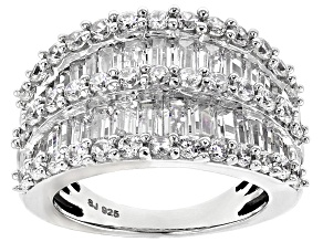 Pre-Owned Cubic Zirconia Silver Ring 6.90ctw (3.06ctw DEW)