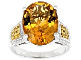 Pre-Owned Yellow Citrine Sterling Silver Ring 7.55ctw