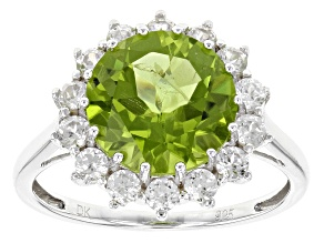 Pre-Owned Green Peridot Sterling Silver Ring 4.80ctw